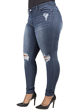 ad2aa2dac8444 Poetic Justice Plus Size Women s Curvy Fit Blue Denim Distressed Skinny  Jeans Size 16R x 32Length