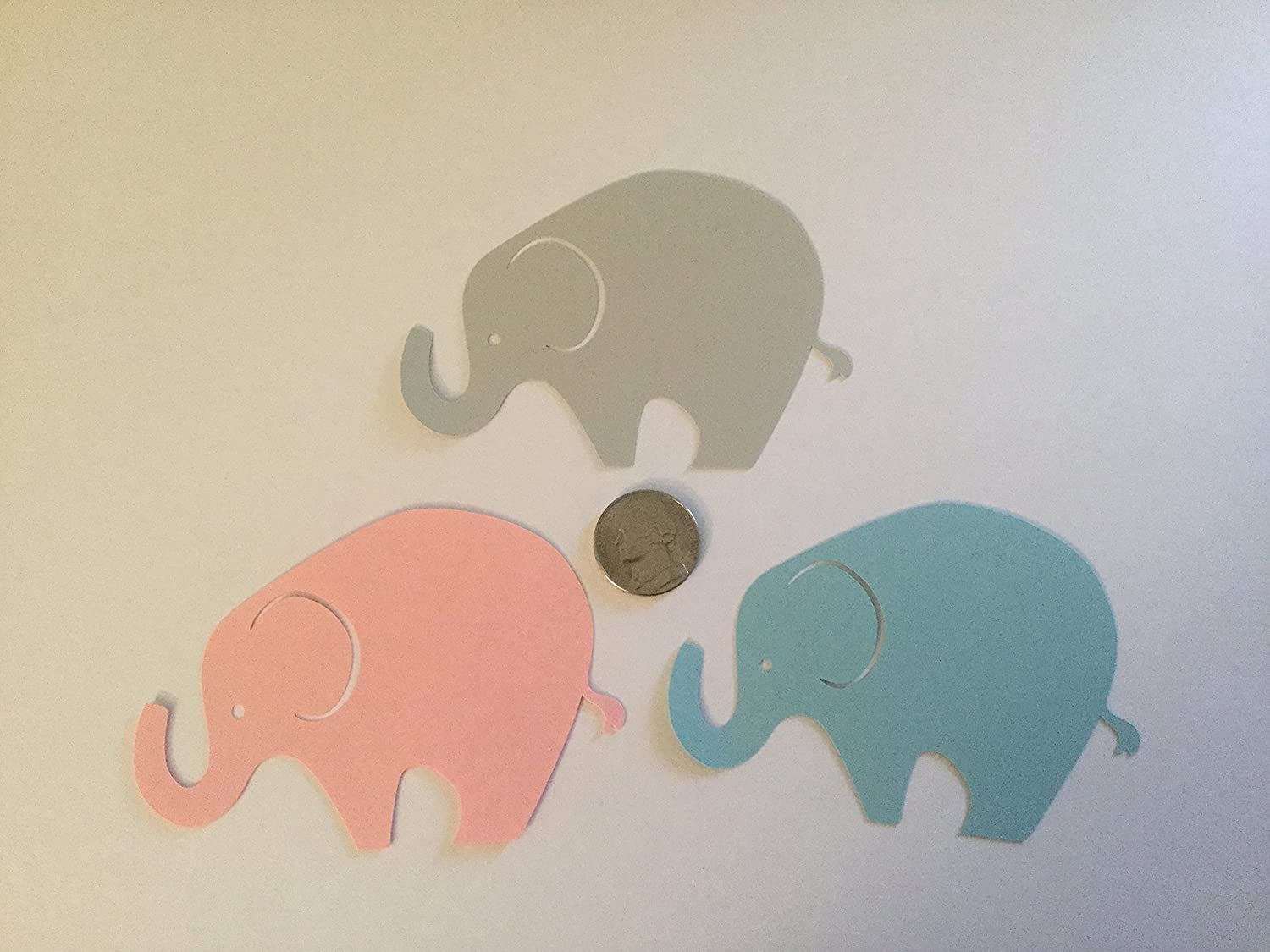 24 Light Gray Pink Blue Elephant Cutout 3 3//4 Inch Elephant Cut Outs Large Elephant Diecut Elephant Baby Shower Elephant Theme Gender Reveal Party