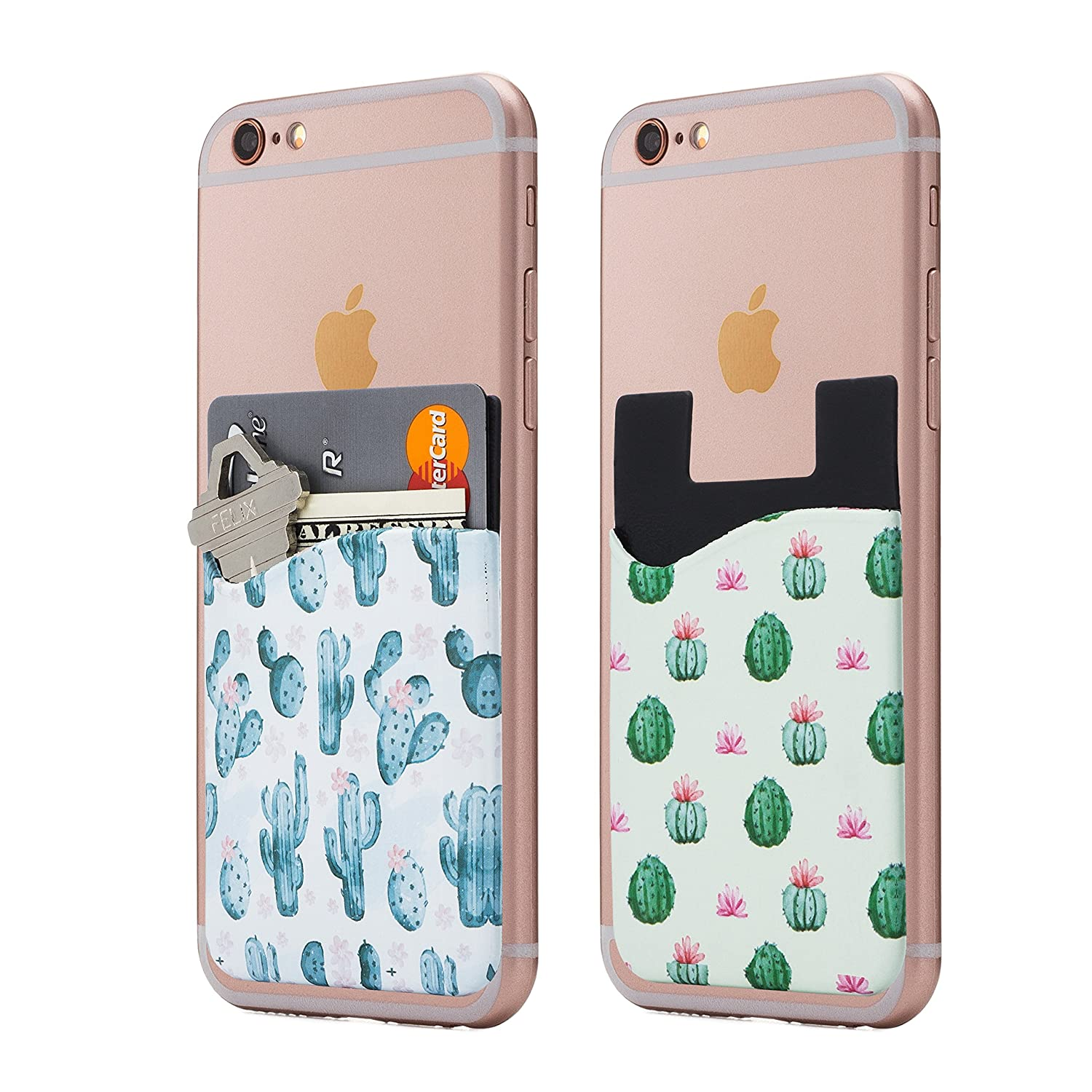 (Two) Cactus Phone Card Holder - Phone Stick on Wallet - Card Holder Phone Pocket for iPhone, Android and all Smartphones. (Cactus) Cardly