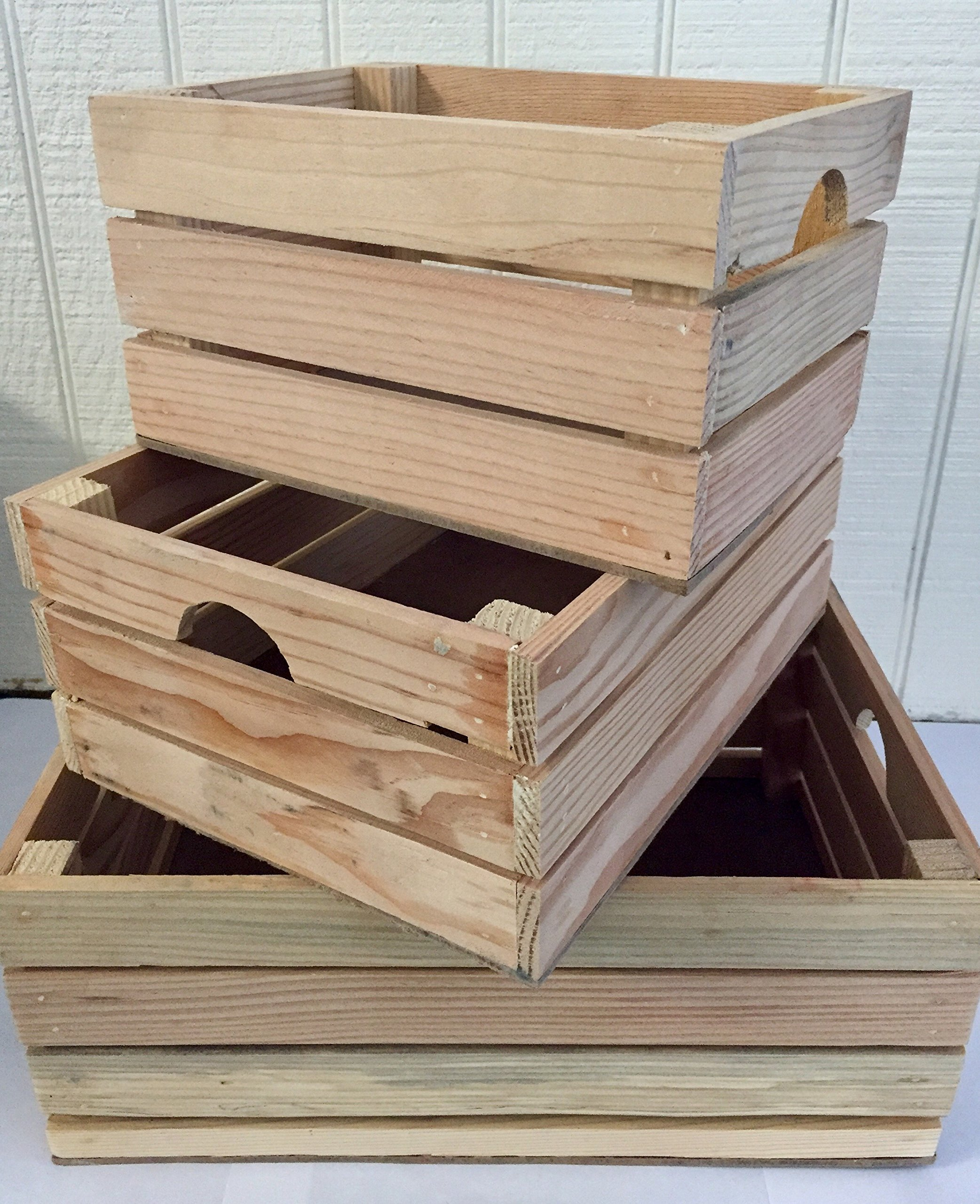 Rustic Decorative Wood Crates (Set of 3) (Natural Wood)