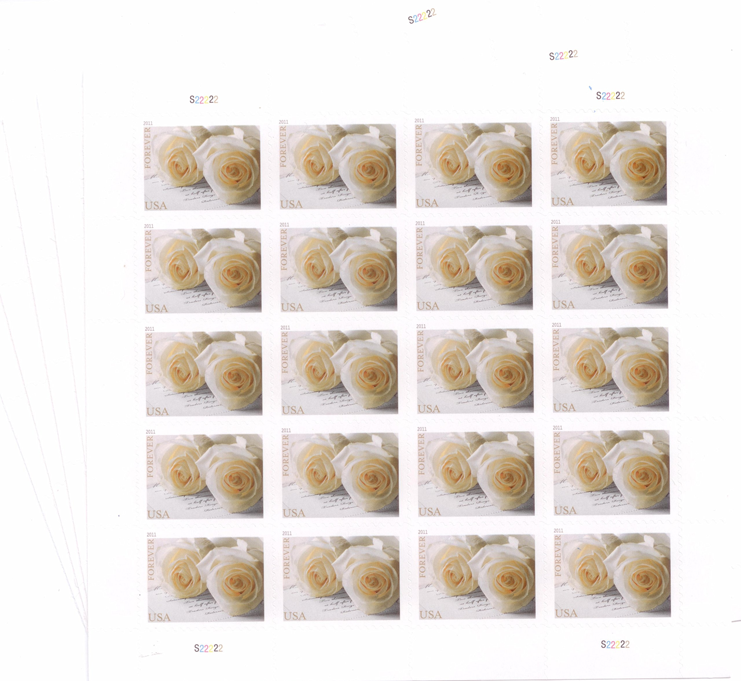 USPS 575900 Series Wedding Roses Commemorative Stamp Scott 4520 Sheet of 20 Forever Stamps by USPS