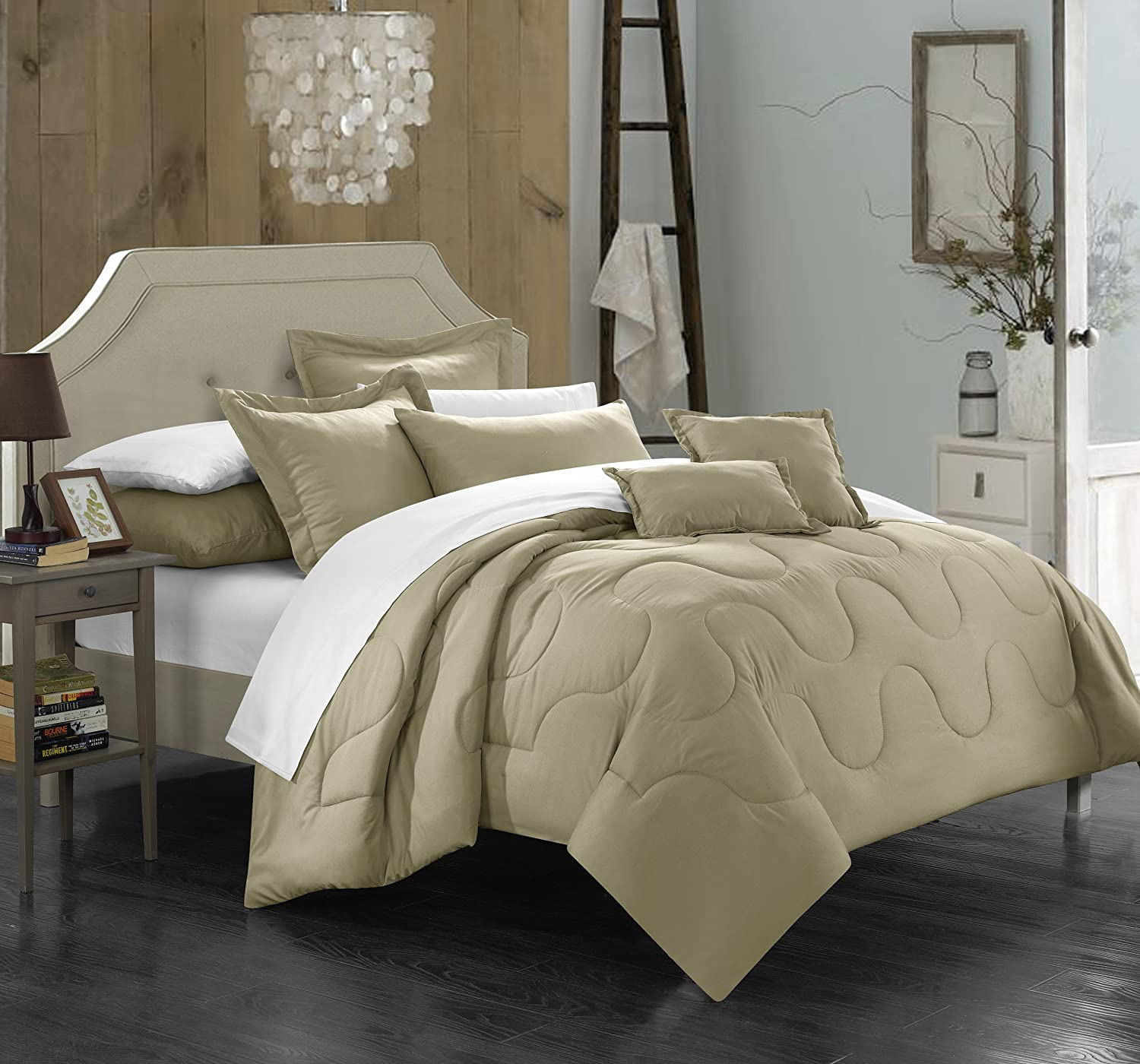 Chic Home Donna 5 Piece Comforter Set Minimalist Solid Color Design with Pillows Shams, Twin Taupe