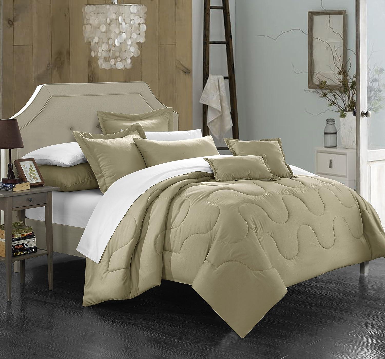 Home Design Down Alternative Color Comforters: Chic Home Donna 7 Piece Comforter Set Minimalist Solid