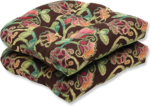 Pillow Perfect Indoor Outdoor Wicker Seat Cushion Set of 2 with Sunbrella Vagabond Paradise Fabric, 19 in. L X 19 in. W X 5 in. D,Brown