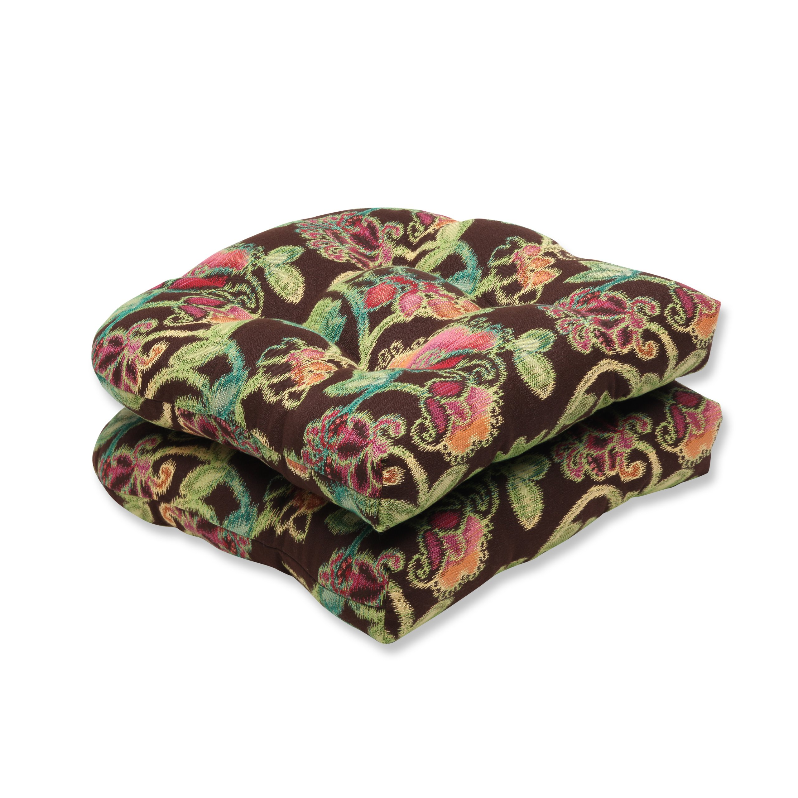 Pillow Perfect Indoor/Outdoor Wicker Seat Cushion (Set of 2) with Sunbrella Vagabond Paradise Fabric, 19 in. L X 19 in. W X 5 in. D