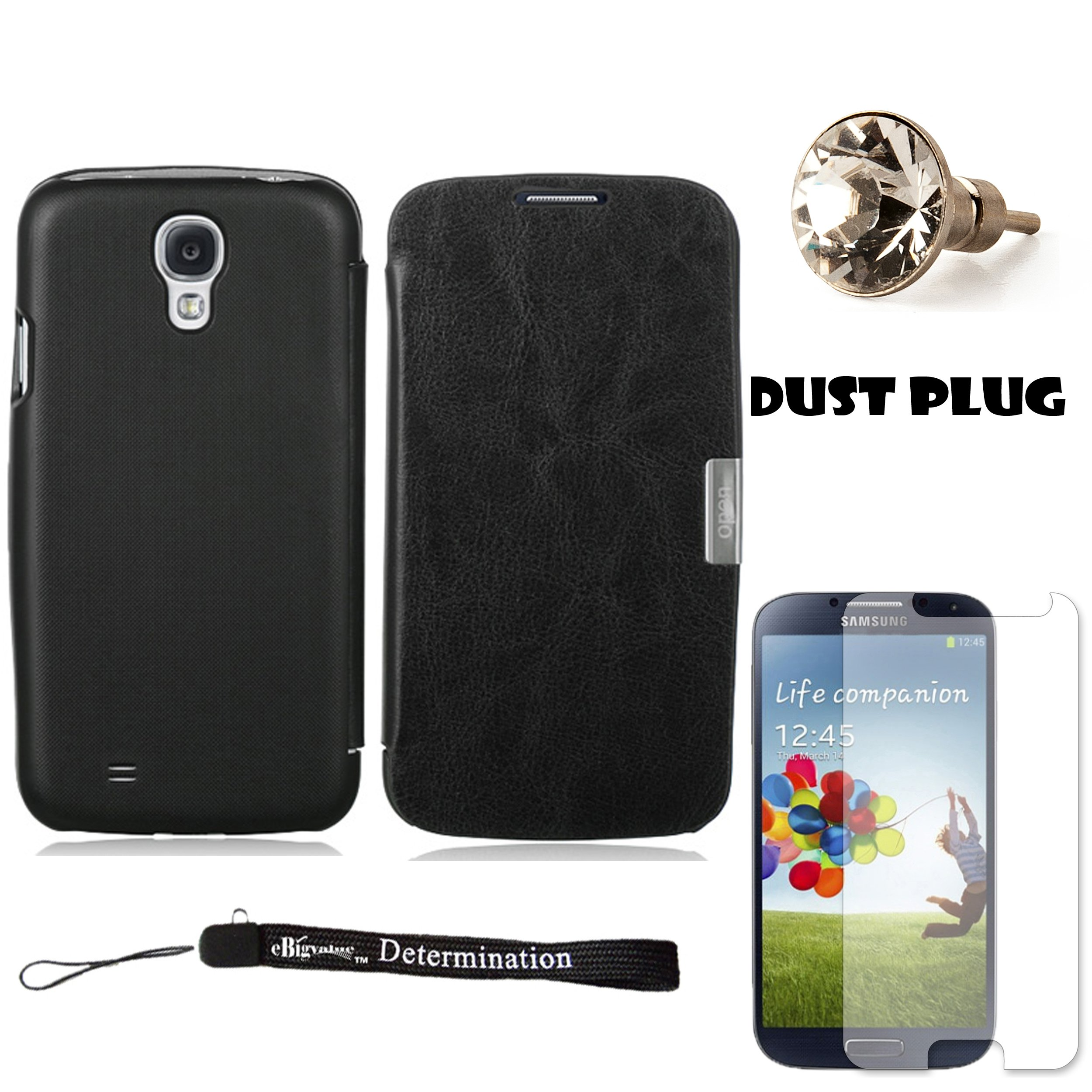 Black Secure Flip Case For Samsung Galaxy S4 Android Smartphone 4G LTE (Jelly Bean) + Silver Swarovski Crystal Headphone Jack Dust Plug + Samsung Galaxy S4 Screen Guard Protector + an eBigValue  Determination Hand Strap