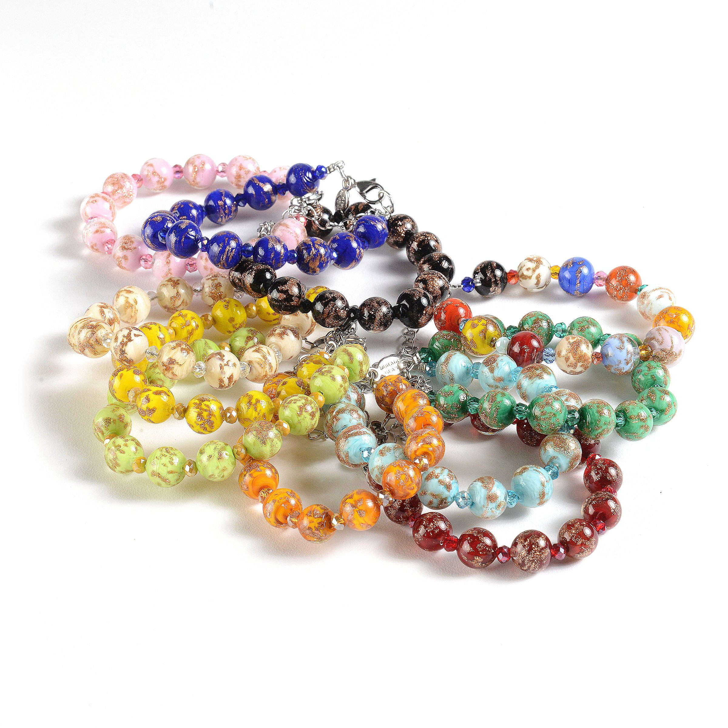 Murano Glass Jewelry, Handmade Vibrant Murano Glass Beads, Hypoallergenic Zamak Clasp, Each Murano Charm Bead is Unique, Colorful, and Exquisite - Murano Glass Bracelet for Women, Imported by EMBRACE LA GRANDE VITA (Image #3)