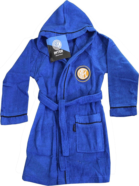 Homme M - Peignoir /à capuche officiel Inter FC 46 // 48 100 /% micro /éponge de pur coton Tailles : S ; M ; L ; XL ; XXL Official Inter F.C Noir et bleu