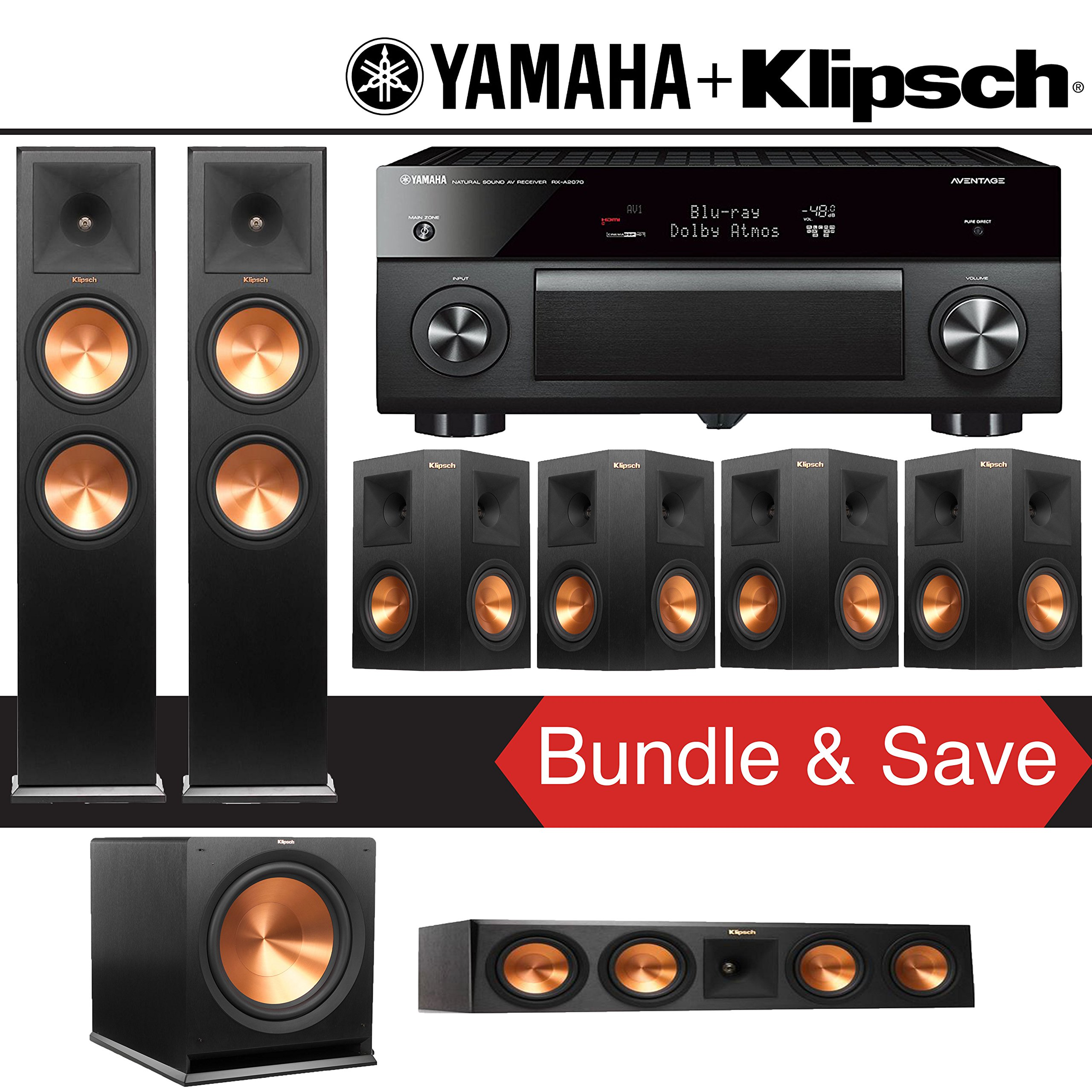 Klipsch RP-280F 7.1-Ch Reference Premiere Home Theater System with Yamaha AVENTAGE RX-A2070BL 9.2-Channel Network A/V Receiver by Klipsch
