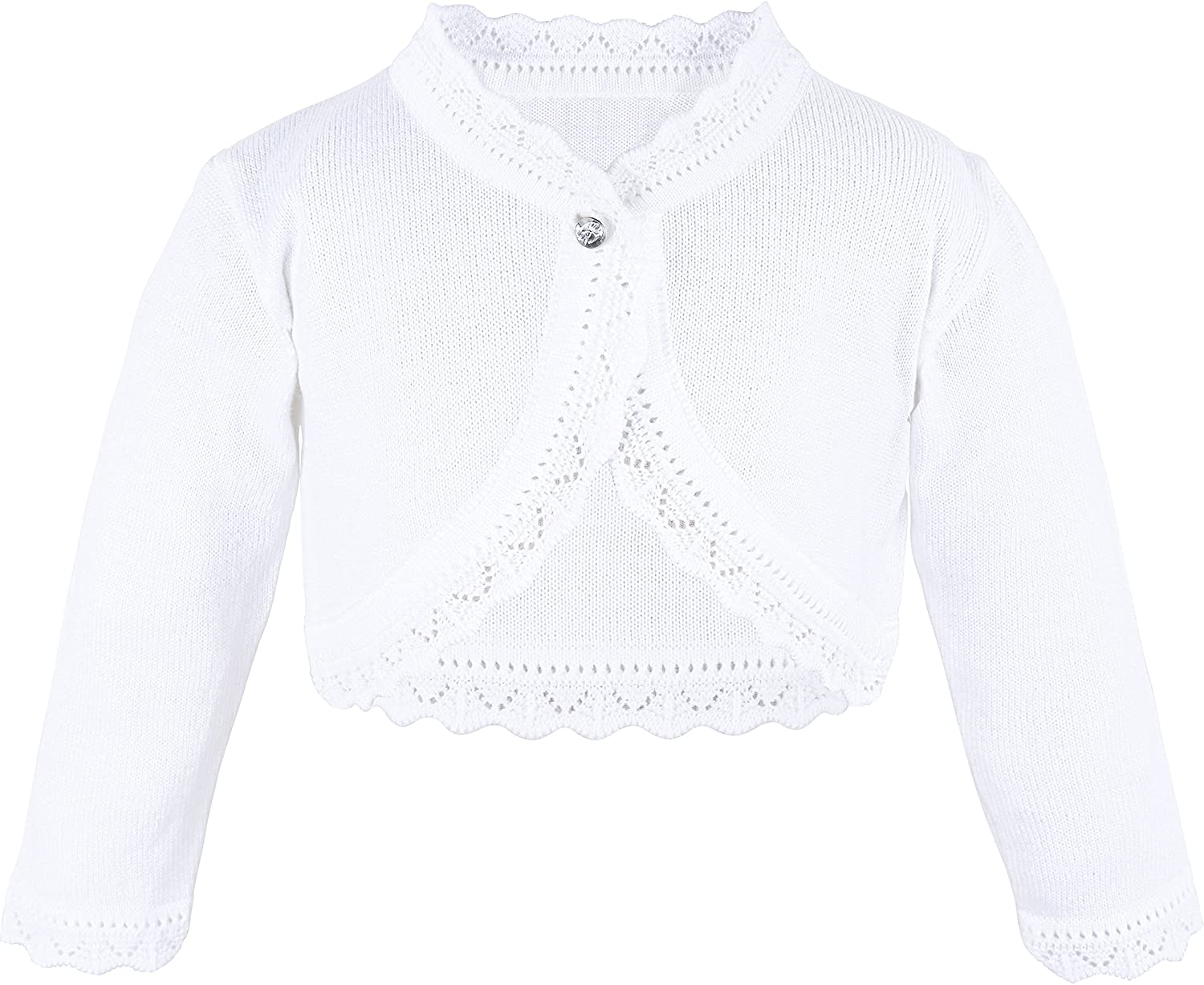 Lilax Little Girls Knit Long Sleeve Button Closure Bolero Cardigan Shrug