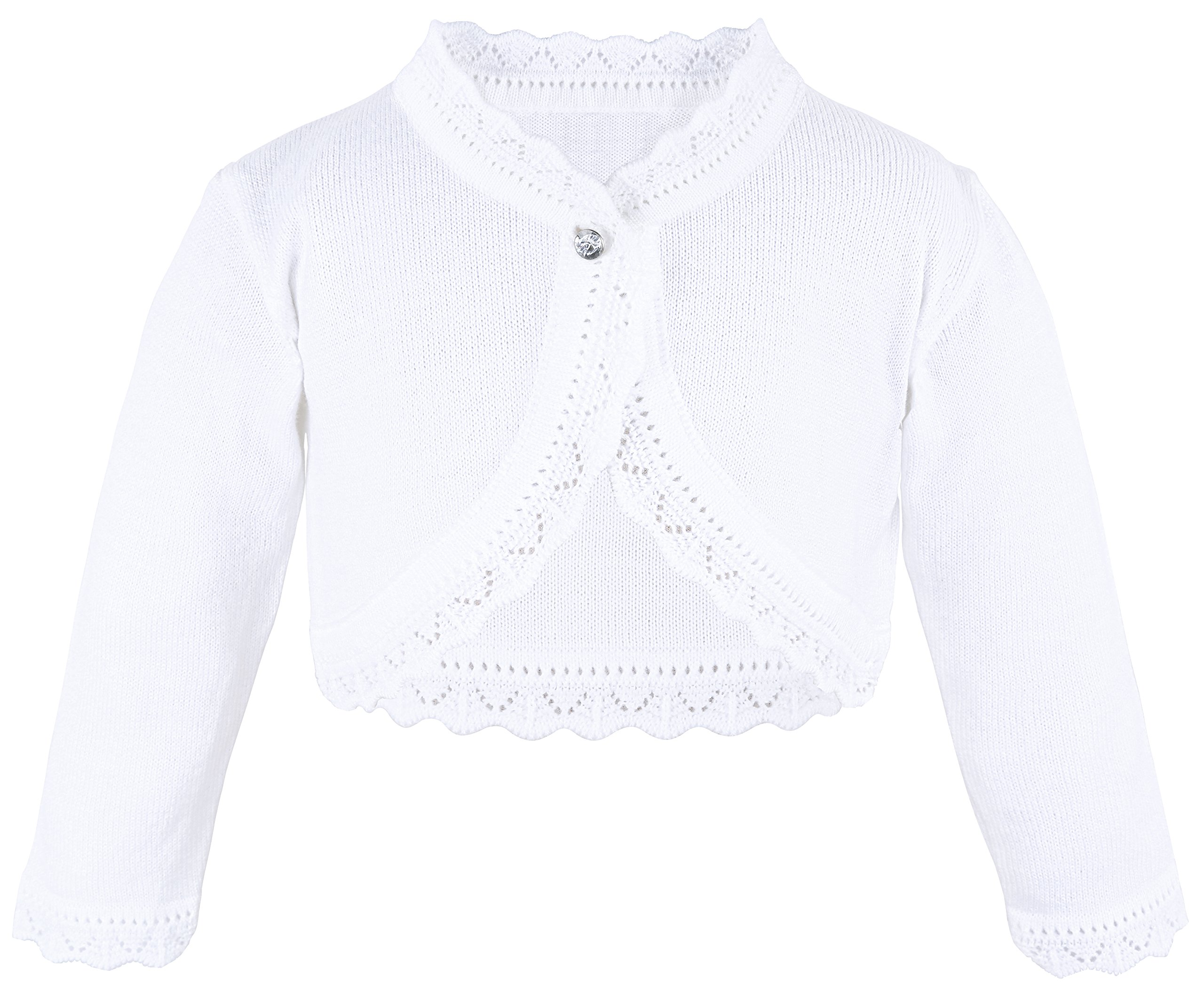 Lilax Little Girls' Knit Long Sleeve Button Closure Bolero Cardigan Shrug 6 White