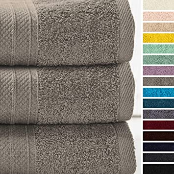Lumaland Premium Set 3 Toallas de baño 3 Toallas de Ducha 70 x 140 cm 100% algodón 500 g/m² con Cinta Camel: Amazon.es: Hogar