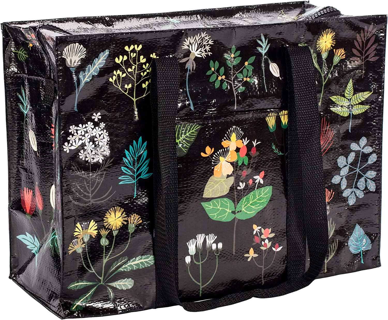 Blue Q Shoulder Tote, Plant Study. This botanical beauty is a carry-everywhere bag that features a hefty zipper, exterior pocket, wrap-around straps, reinforced floor, 95% recycled material, 11