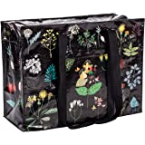 """Blue Q Shoulder Tote, Plant Study, made from 95% recycled material, hefty zipper, exterior pocket, 11""""h x 15""""w x 6.25""""d"""