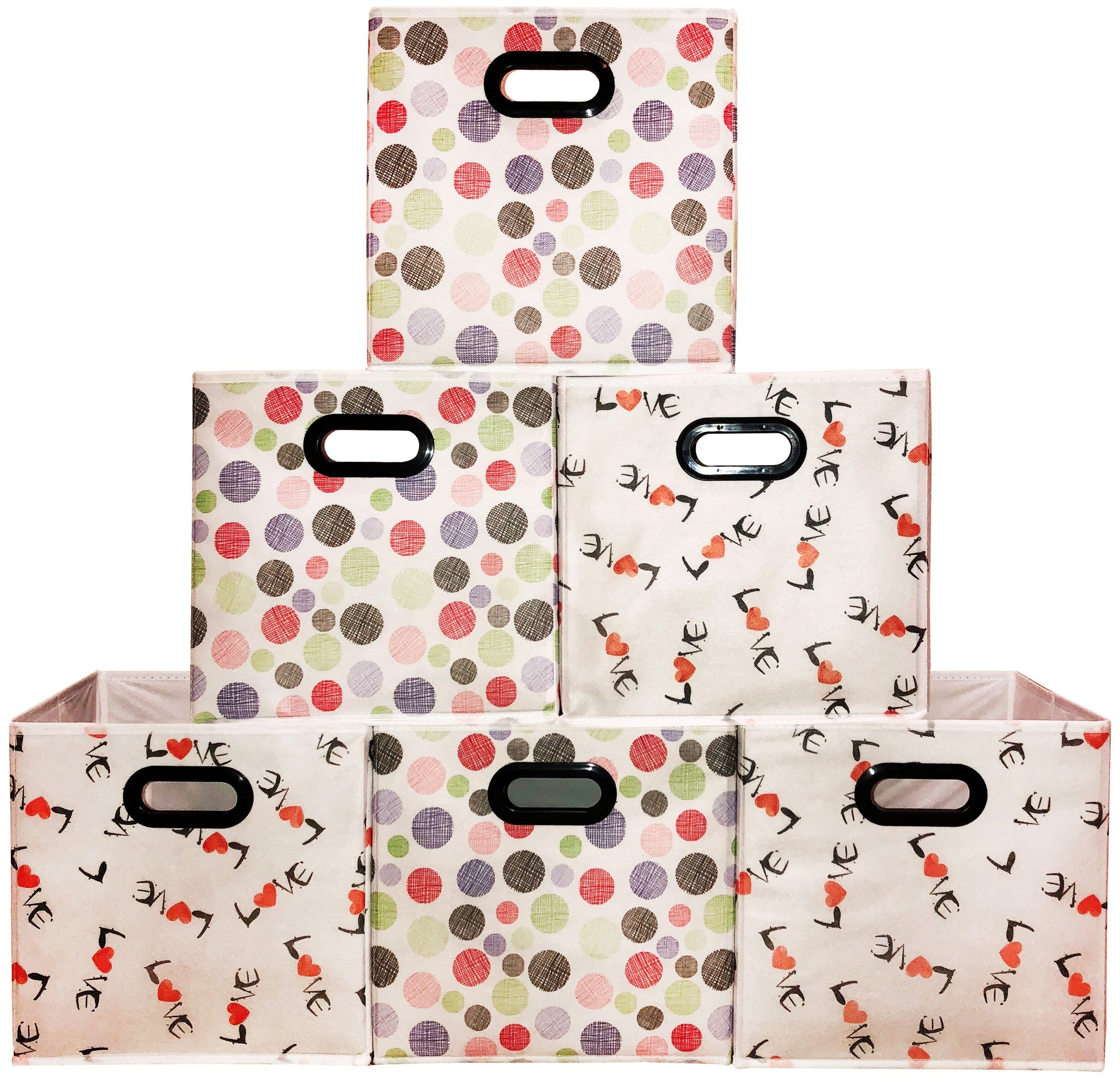 [6 Pack,Polka & Love Pattern] Large Storage Bins, Containers, Boxes, Tote, Baskets| Collapsible Storage Cubes For Household Offices Organization |Nursery Foldable Fresh Cubes| Dual Plastic Handle by Prorighty (Image #1)