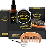 Beard Kit for Men Gifts Set Beard Grooming & Trimming Kit Beard Growth Product w/Unscented Beard Conditioning Oil, Mustache Wax/Balm + Brush + Comb + Mustache Scissors for Beard Trimmer Styling