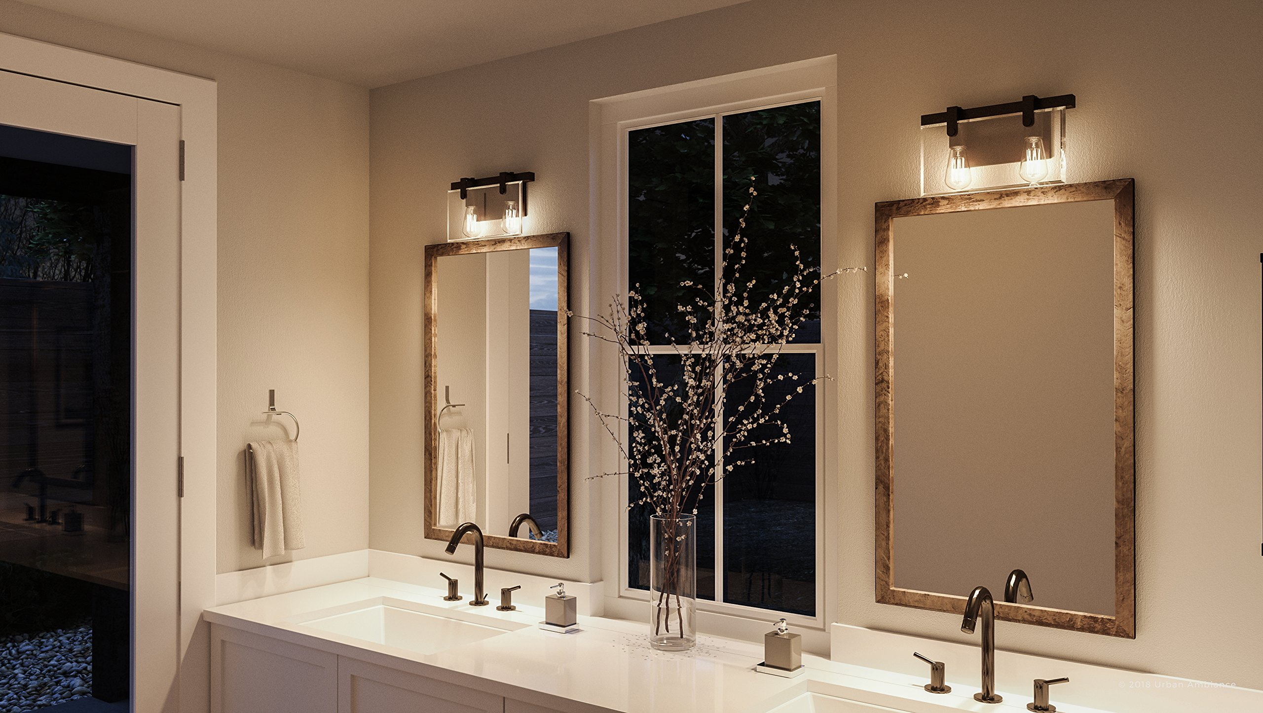 Luxury Modern Farmhouse Bathroom Vanity Light, Medium Size: 8.38'' H x 14.875'' W, with Industrial Chic Style Elements, Olde Bronze Finish, UHP2452 from The Bristol Collection by Urban Ambiance by Urban Ambiance (Image #2)