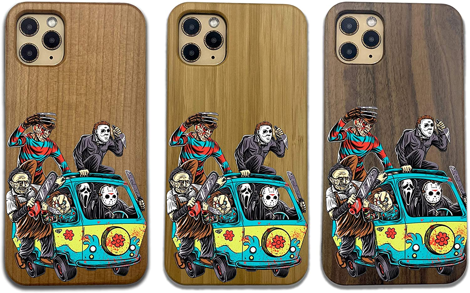 Halloween Wood case Compatible with Apple iPhone 12 pro max Mini 11 XR X 7 8 SE Plus Samsung Galaxy S20 Ultra S10 Note 10 20 Wooden Cover (Bamboo, iPhone 11)
