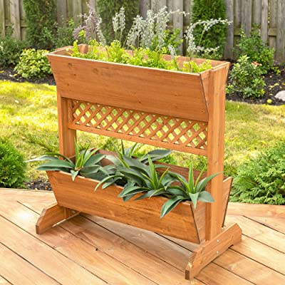 Leisure Season Interior or Outside 2-Tier Space Divider Planter Box, Brown : Garden & Outdoor
