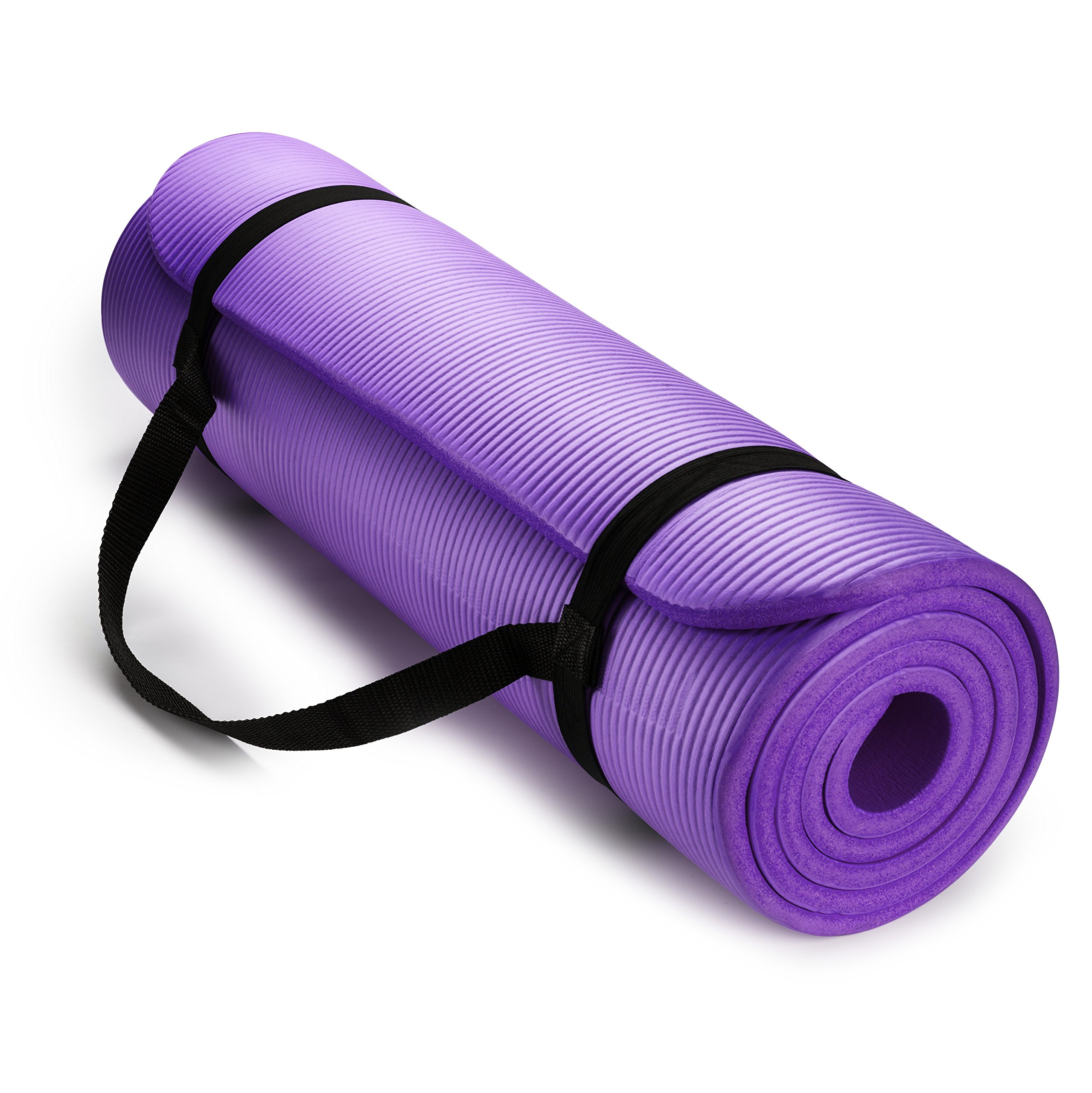 HemingWeigh 1/2-Inch Extra Thick High Density Exercise Yoga Mat with Carrying Strap for Exercise, Yoga and Pilates (Purple)