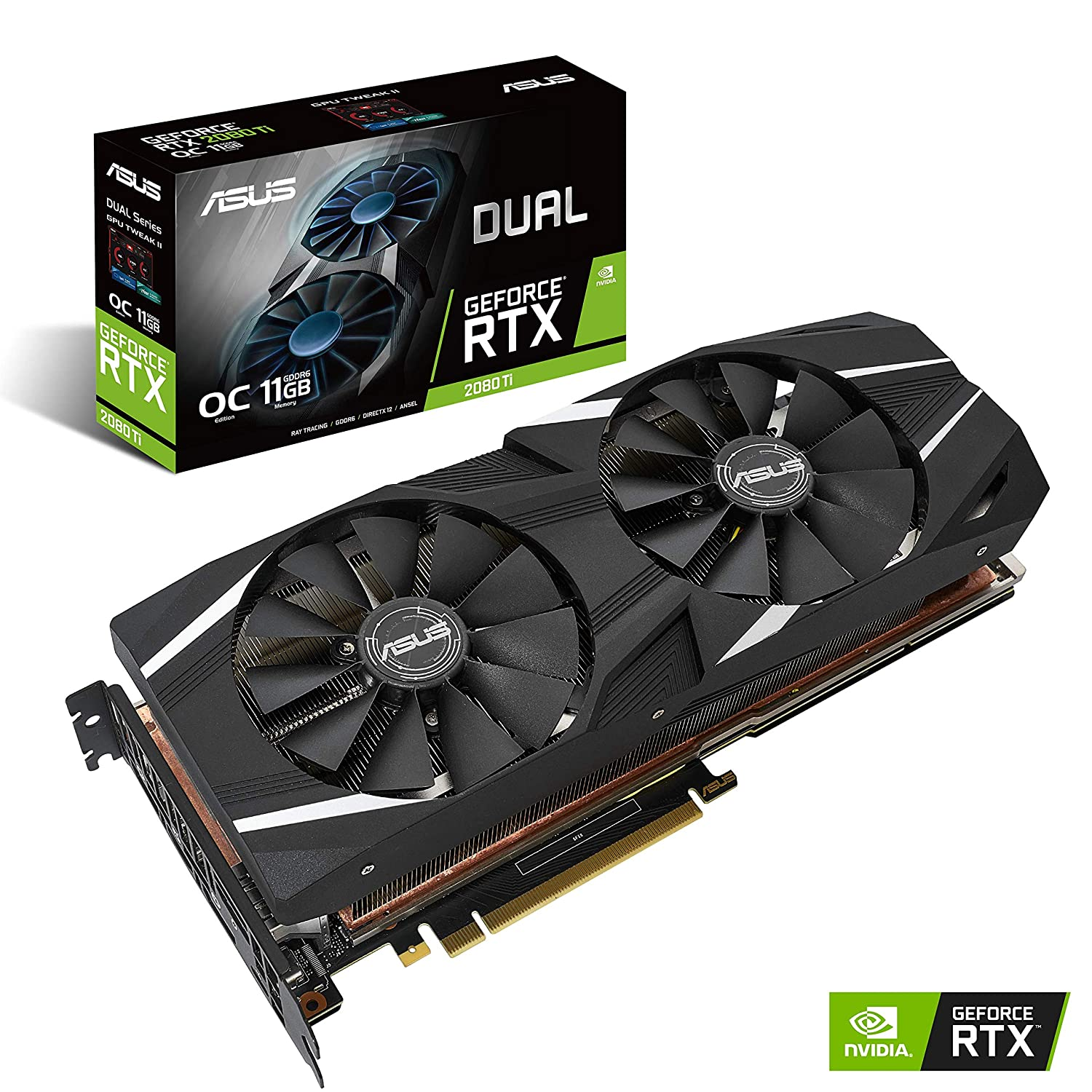 ASUS GeForce RTX 2080 Ti O11G Dual-fan OC Edition GDDR6 HDMI DP 1 4 USB  Type-C graphics card (DUAL-RTX2080TI-O11G)