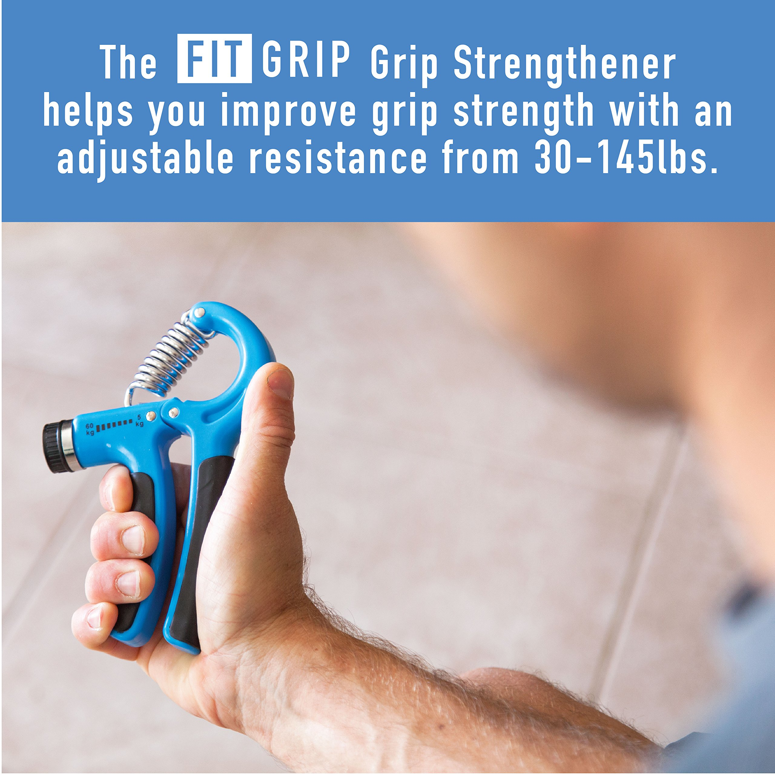 Hand Grip Strength and Forearm Trainer 4-Pack Bundle: Resistance Grip Strengthener, Finger Trainer, Finger Exerciser Stretcher, Grip Ring | Ideal for Athletes, Therapy for Arthritis, Carpal Tunnel by Fit Grip (Image #3)