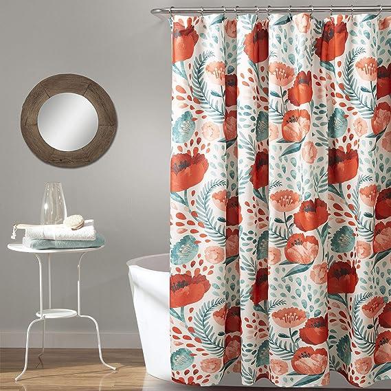 Beach Shower Curtain Poppy Carnations Spring Print for Bathroom