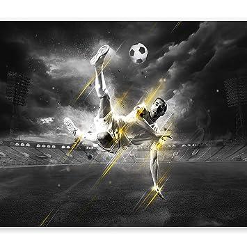 murando - Fototapete Fussball 400x280 cm - Vlies Tapete - Moderne Wanddeko  - Design Tapete - Wandtapete - Wand Dekoration – Fußball schwarz weiß ...