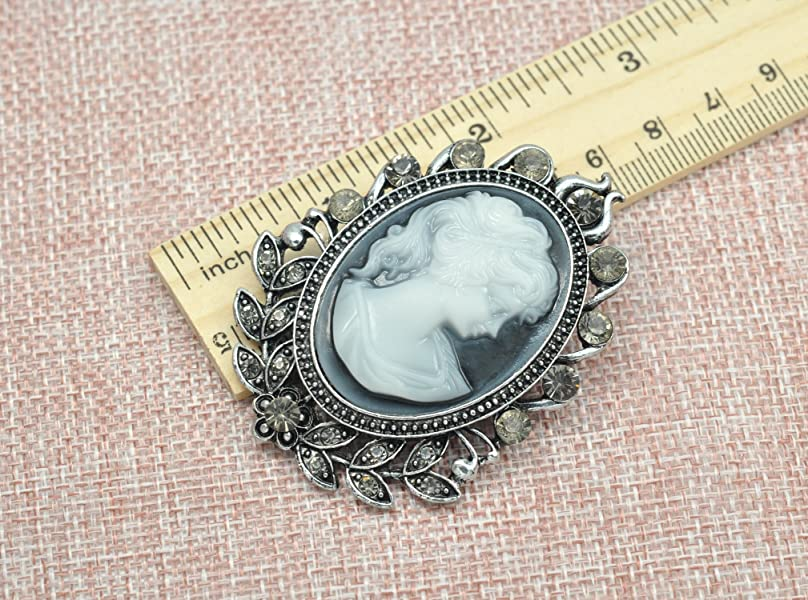 ddd3c8f7c Matte Silvery Tone Vintage Cameo Victorian Lady Maiden Crystal Rhinestone  Brooch Pin BZ092