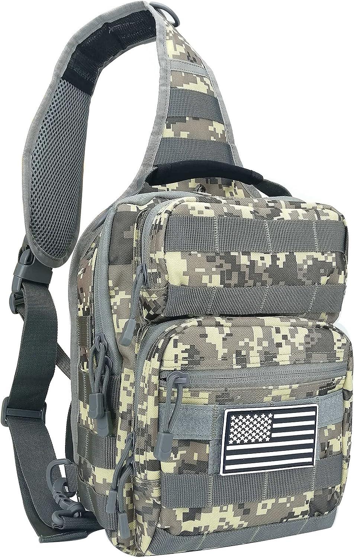 Military Shoulder Bag Sling EDC Tactical Molle Pack Outdoor Camping Backpack