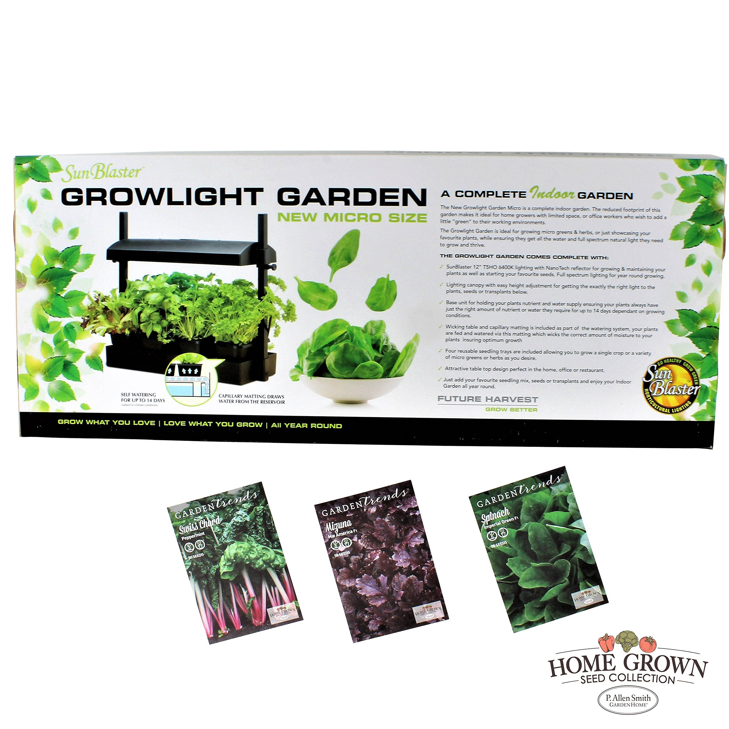 P. Allen Smith Indoor Greens Gardening Collection - Seeds and a Sunblaster Micro Grow Light Garden by GardenTrends