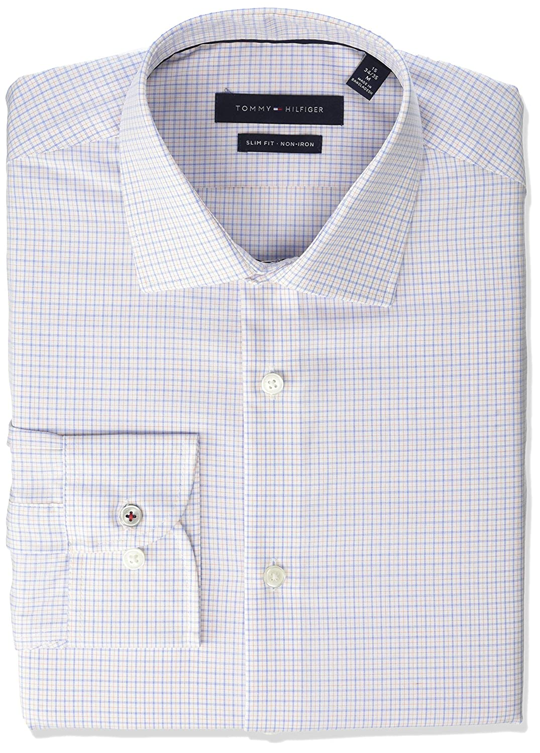 4f987764896 Tommy Hilfiger Men's Dress Shirts Non Iron Slim Fit Check at Amazon Men's  Clothing store: