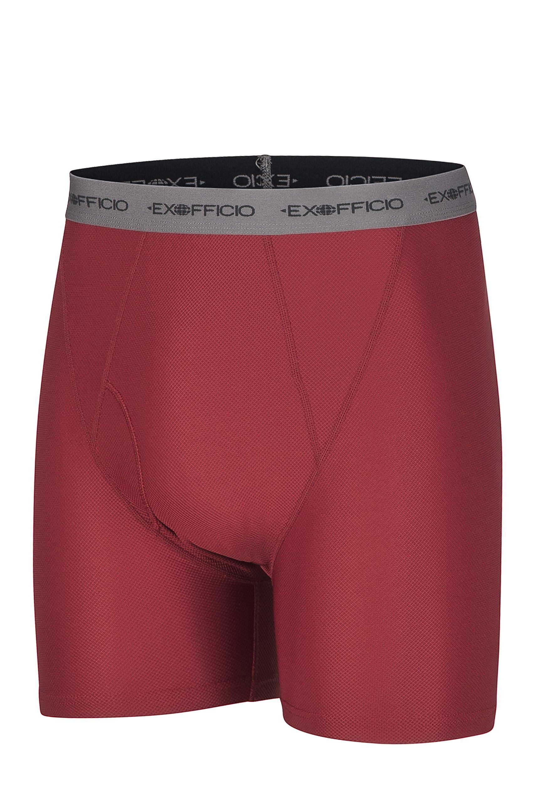 ExOfficio Men's Give-N-Go Boxer Brief,Bolero Red/Grey,Large