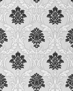 Papier Peint Néo Baroque EDEM 052 20 Ornement Damas Flockage Noir Blanc  Gris Clair