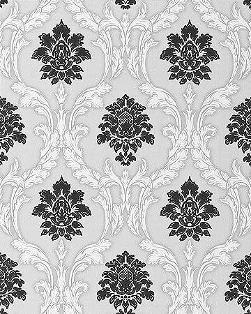 Tapete weiß ornamente  Barock Tapete EDEM 052-20 Tapete Damask Relief-Ornamente Flockoptik ...