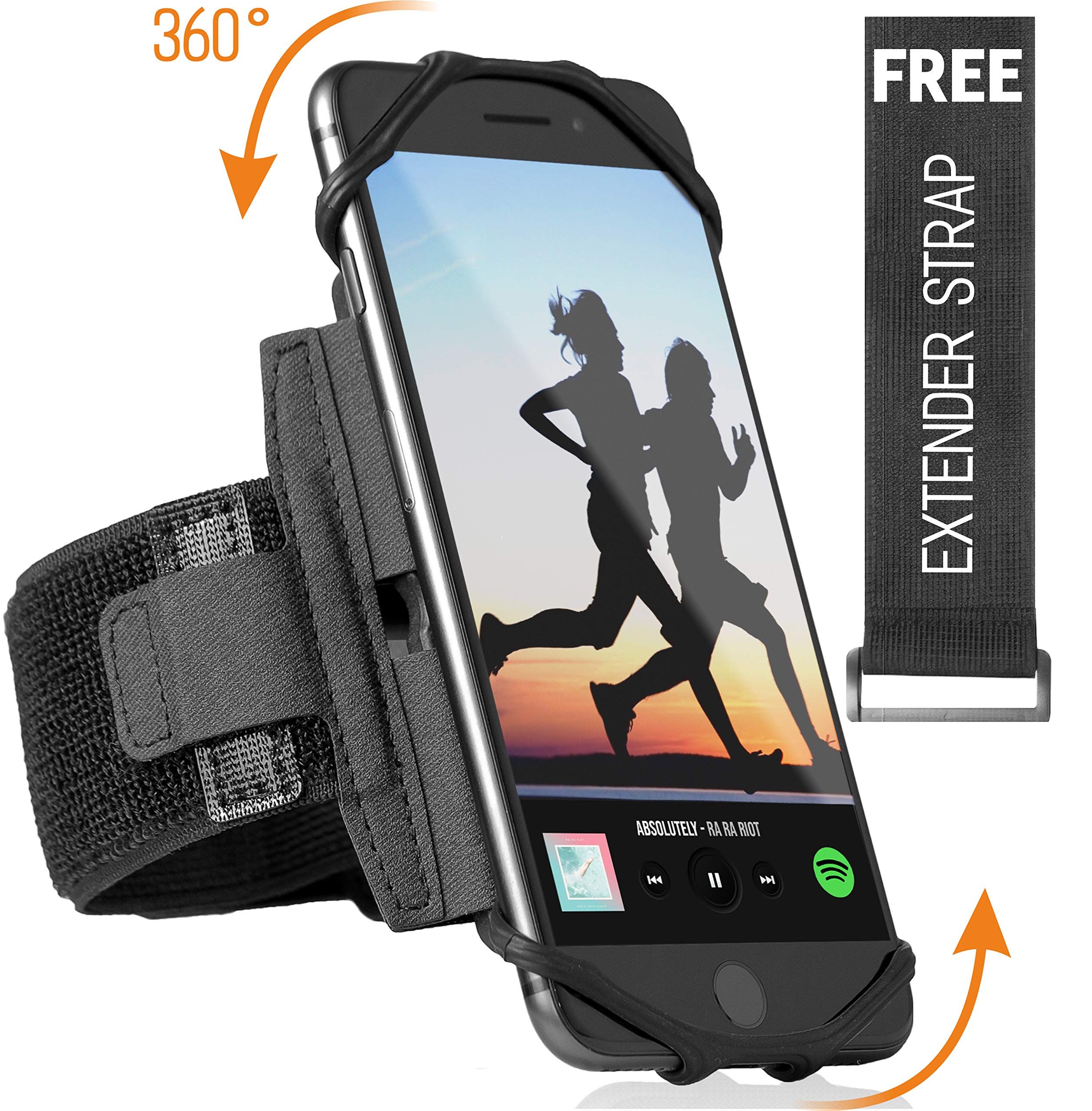 360° Rotatable Premium Sports Running Armband for All Phones: iPhone X XR XS Max 8 Plus 7 Plus 6, Samsung Galaxy A8 S10 S9 S8 Edge, LG, HTC, Pixel; Universal Cellphone Holder + Free Extender Strap by ideas4comfort