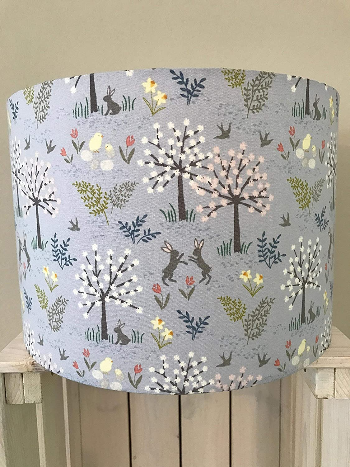 Lilac Woodland Scene Drum lampshade with Hares, Chicks and Trees