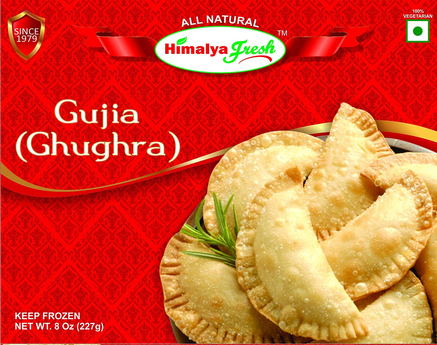 HIMALYA FRESH Gujia (Ghughra) 8oz - Premium Authentic Indian Food & Sweets Made With Pure Buffalo Milk - No Fillers Or Preservatives (1 Box)
