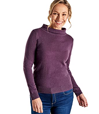 Wool Overs Pull Encolure  Jackie Kennedy  - Femme - Cachemire   Mérinos  Aubergine, d87d6be81548