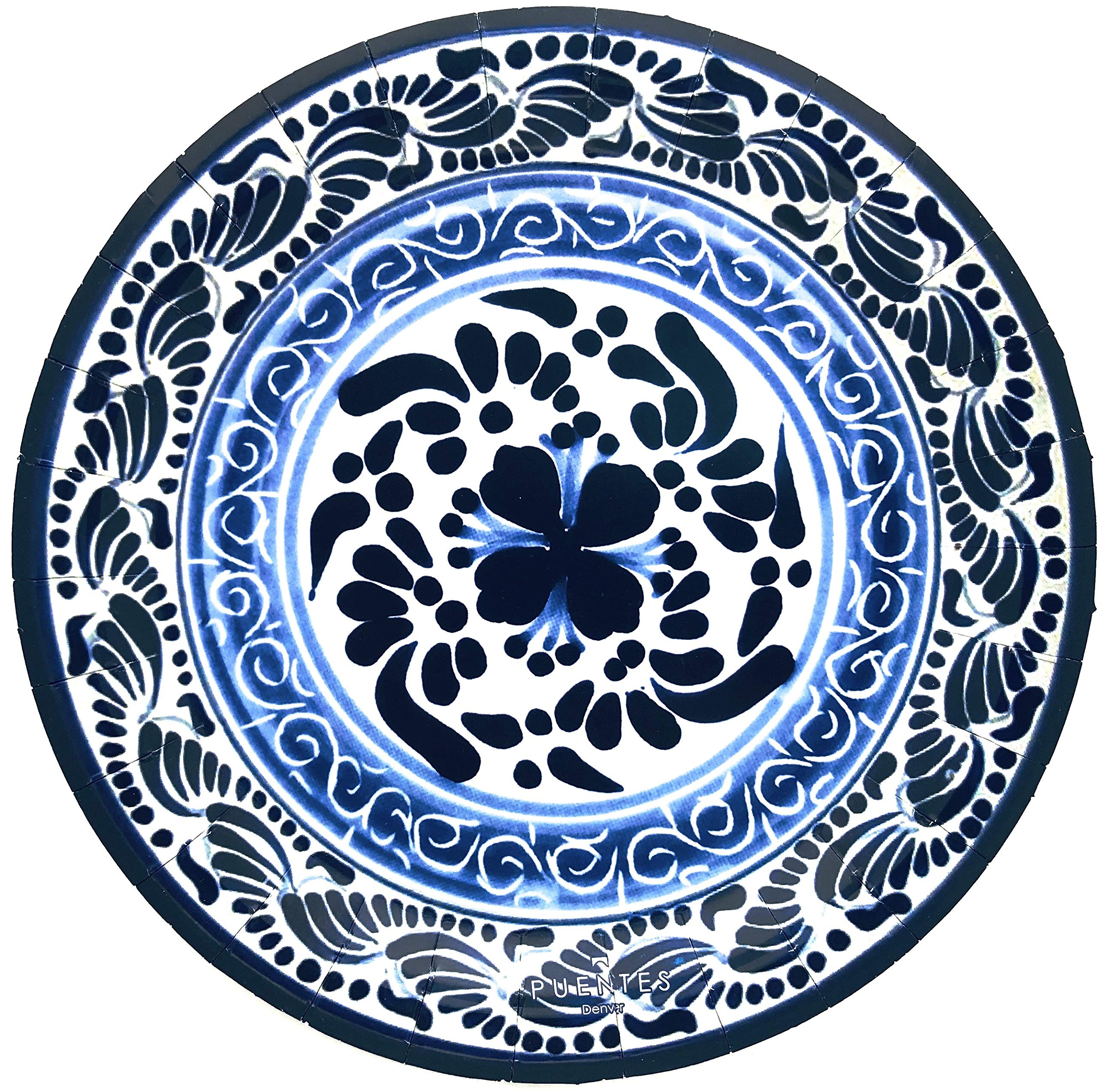 Paper Plates Mexican Design Talavera Design Mexico Themed Party Fiesta, 40-Pack by Puentes Denver