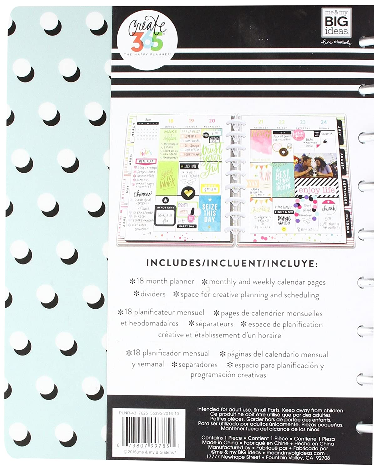 Me & My Big Ideas Classic Planner - A Well Crafted Life, Standard, Teal White Polka Dots