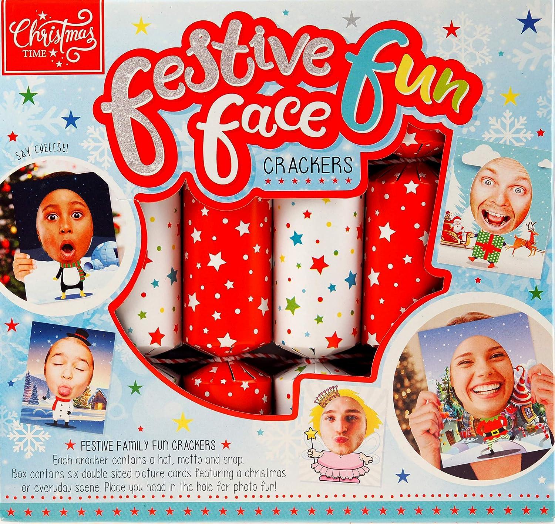 Lot de 6 cartes /à selfie avec visages amusants et amusantes pour les f/êtes de No/ël.