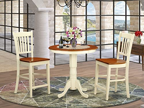 EDGR3-WHI-W 3 Pc counter height Dining room set – high top Table and 2 Dining chair.