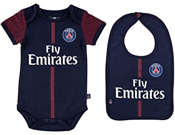 b91fc424bb521 PARIS SAINT GERMAIN Body + Bavoir PSG - Collection Officielle Bébé Garçon  (3 Mois)