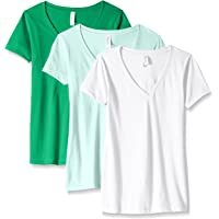 Clementine Apparel Women's 3-Pack Short Sleeve T Shirt Easy Tag V Neck Soft Cotton Blend Undershirts (1540)