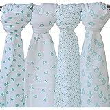"Whitewrap Baby Swaddle Blankets   4-Pack   100% Organic Muslin Swaddle Blankets   44""x44""   Blue   Soft Baby Wrap Muslin Swad"