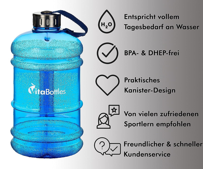 VitaBottles Gimnasio Fitness Botella para Beber 2.2 litros XXXL Libre de BPA Libre de DHEP Azul Deportes Botella para Beber Contenedor de Agua Gal/ón de Agua