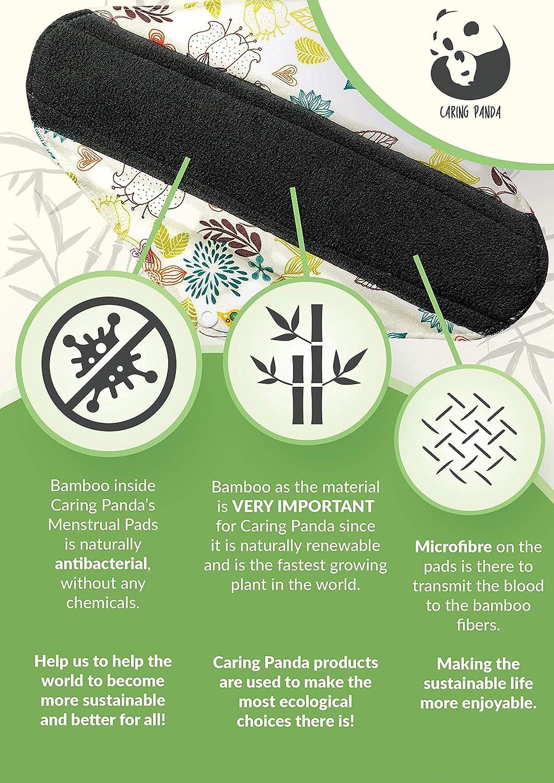 Caring Panda - Compresas de fibra de bambú reutilizables - FLUJO MEDIO - Compresas higiénicas de fibra de bambú lavables y de alta calidad - Lote de 5 ...