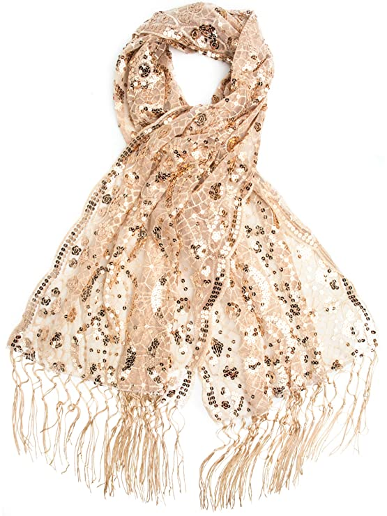 1920s Style Shawls, Wraps, Scarves Bohomonde Vera Vintage Inspired Sequin Shawl Evening Wrap Embroidered Sequin Fringe Shawl or Scarf $19.95 AT vintagedancer.com