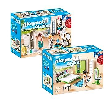 PLAYMOBIL® Modernes Wohnhaus Möbelset: 9268 Badezimmer + 9271 ...